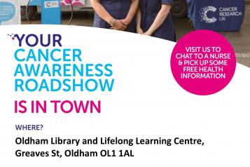 Cancer research uk roadshow august library poster
